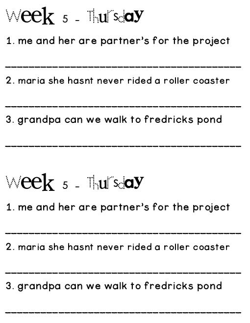 Printables Dol Worksheets dol worksheets davezan daily oral language davezan